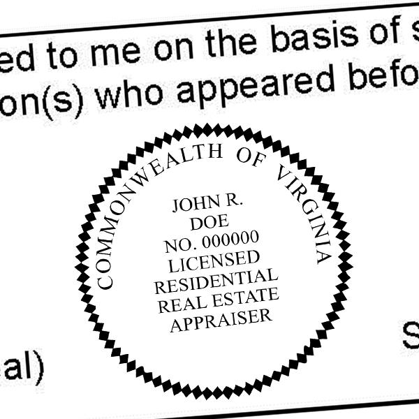 State of Virginia Licensed Residential Real Estate Appraiser Seal Imprint