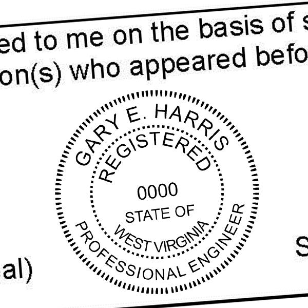 State of West Virginia Engineer Seal Seal Imprint