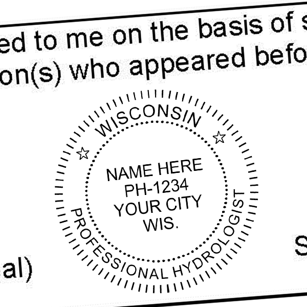 State of Wisconsin Hydrologist Seal Imprint