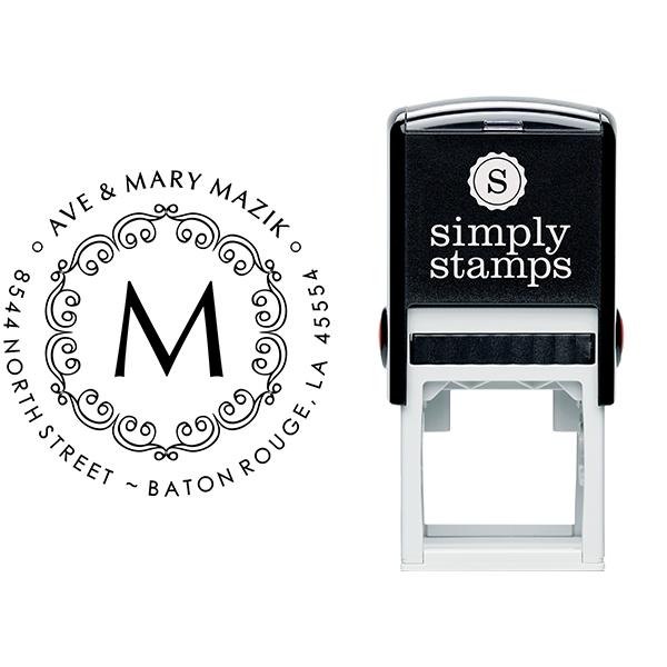 Mazik Monogram Round Address Stamp Body and Design