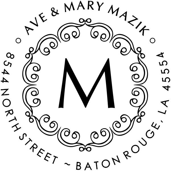 Mazik Monogram Round Address Stamp