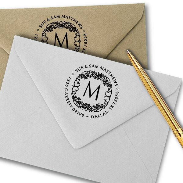 Matthews Flowers Monogram Address Stamp Imprint Examples on Envelopes