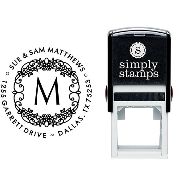 Matthews Flowers Monogram Address Stamp Body and Design