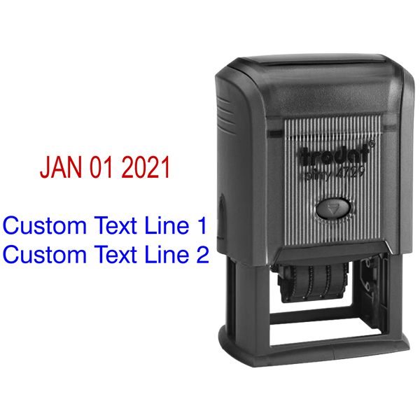 Self-Inking Date Stamp with Custom Text  Body and Design