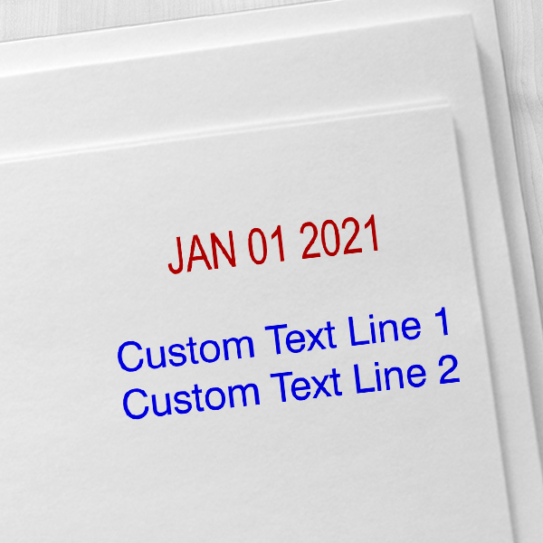 Self-Inking Date Stamp with Custom Text  Imprint Examples on Envelopes