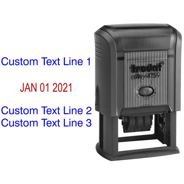 Self-Inking Custom Three Line Dater Stamp Body and Design