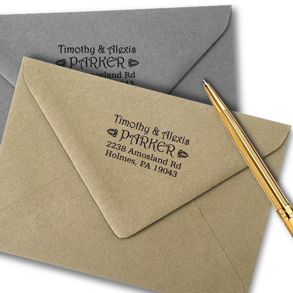 Parker Deco Address Stamp Imprint Examples on Envelopes