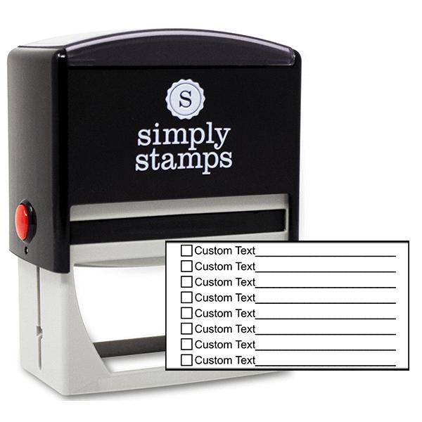 8 Line Box Form Custom Rubber Stamp