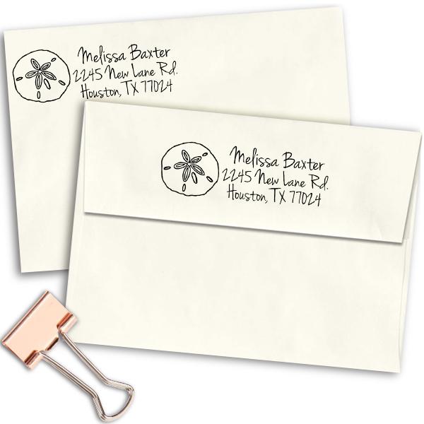 Baxter Shell Address Stamp Imprint Example