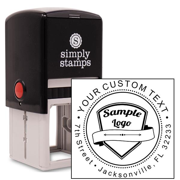 Custom Return Address Stamp - Logo w/ Double Line