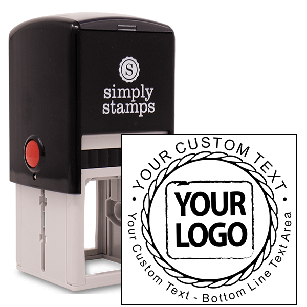 Custom Logo Round Stamp - Rope Design Stamp Body and Imprint
