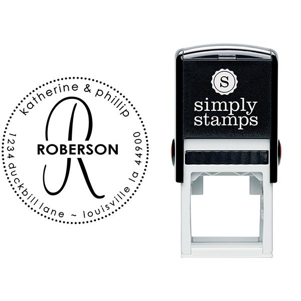 Roberson Monogram Round Address Stamp Body and Design