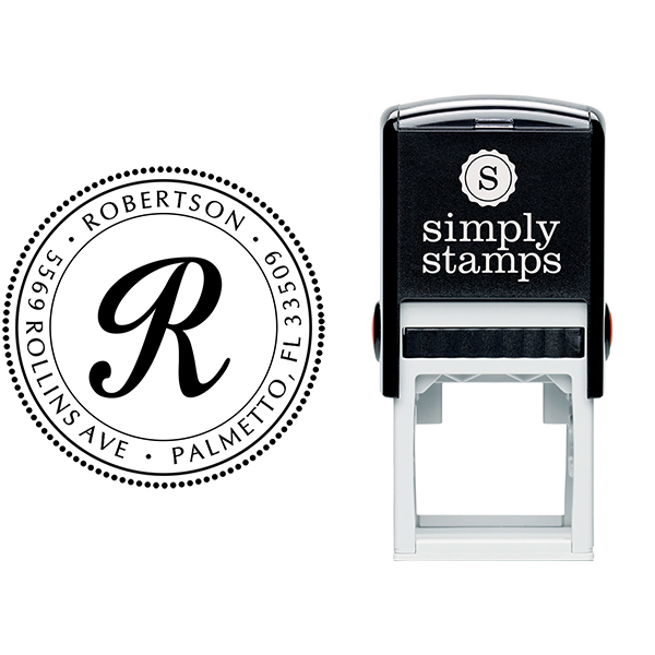 Palmetto Circle Address Stamp Body and Design