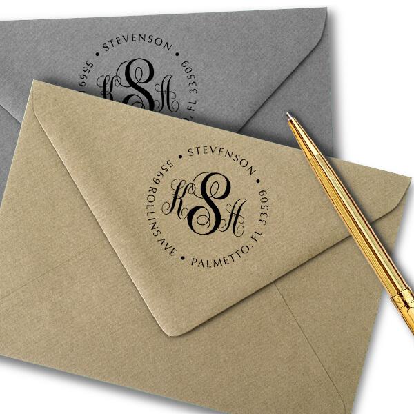 Fancy Monogram Address Stamp - Self-Inking Imprint Examples on Envelopes
