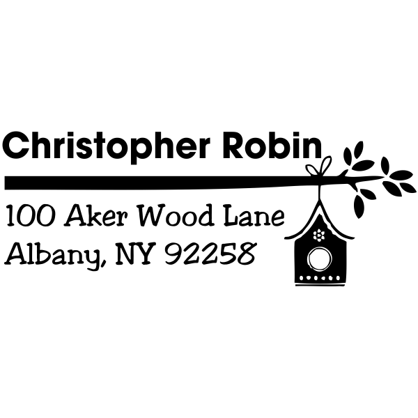 Birdhouse Branch Return Address Stamp