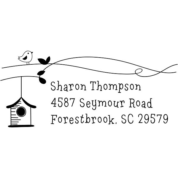 Birdie Birdhouse Return Address Stamp
