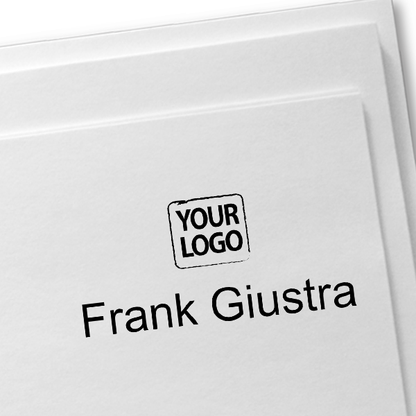 Self-Inking Logo Stamp with Your Name Imprint on Paper