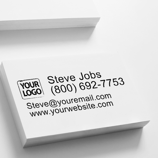 Custom Logo Stamp With 4 Lines of Text Imprint on Paper