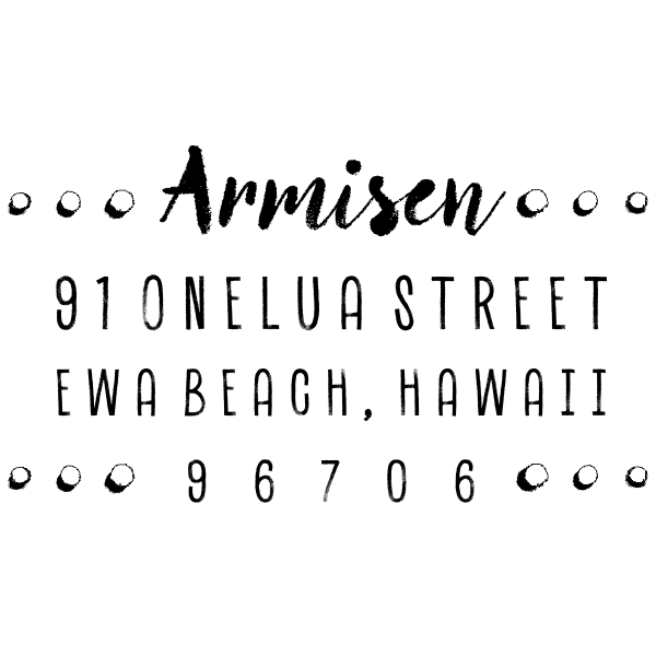 Armisen Halftone Address Stamp design