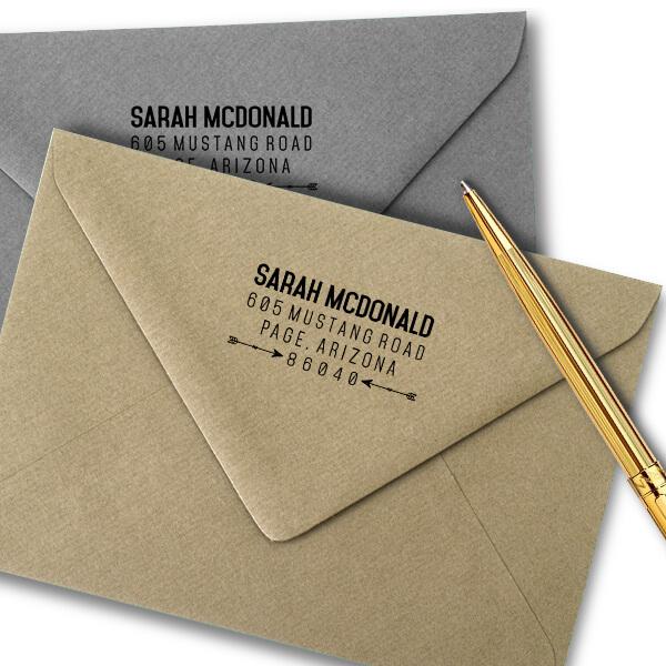 Southwestern Tribal Arrow Address Stamp Imprint Examples on Envelopes