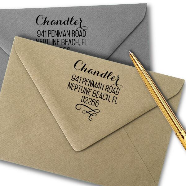 Chandler Swash Address Stamp Imprint Examples on Envelopes