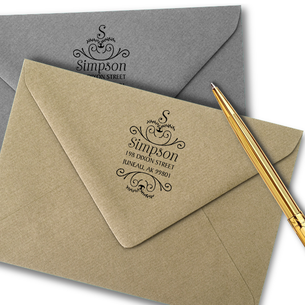 Simpson Ornamental Address Stamp Imprint Examples on Envelopes