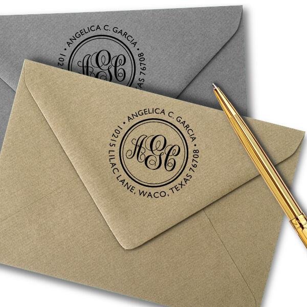 Angelica Monogram Address Stamp Imprint Examples on Envelopes