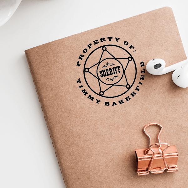 Sheriff Badge Rubber Stamp Imprint Examples on Envelopes