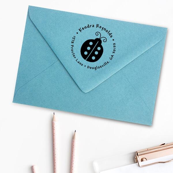 Ladybug Return Address Stamp Imprint Examples on Envelopes