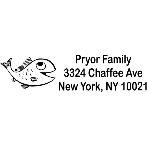 Happy Cartoon Fish Custom Address Stamp