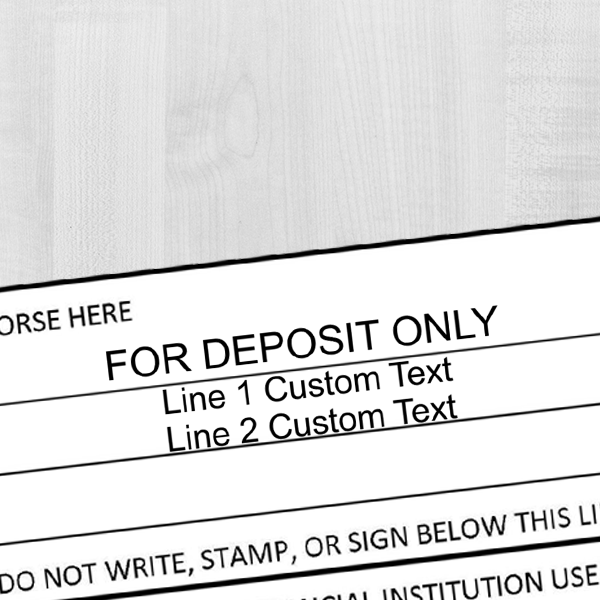3 Line Deposit Only Stamp Imprint Example