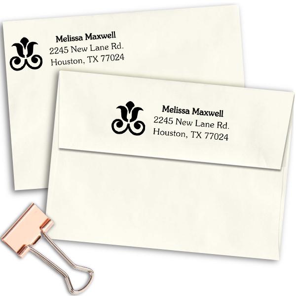 Rose Decor Address Stamp Imprint Example