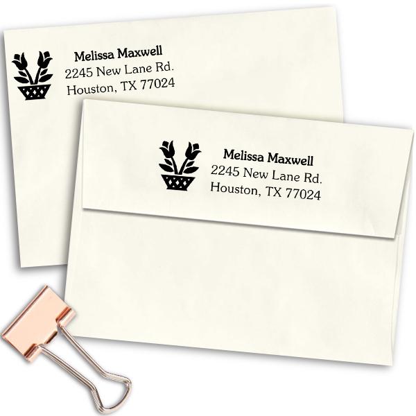Flower Planter Address Stamp Imprint Example