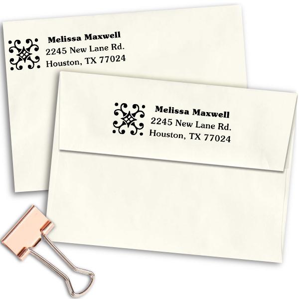 Deco Diamond Address Stamp Imprint Example