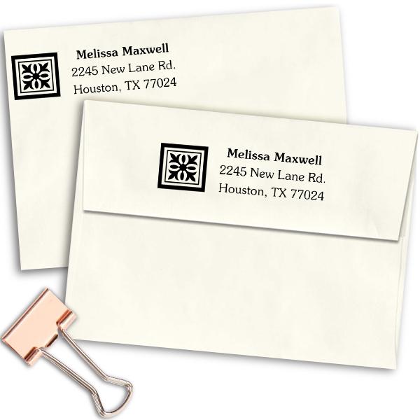 Deco Square Address Stamp Imprint Example