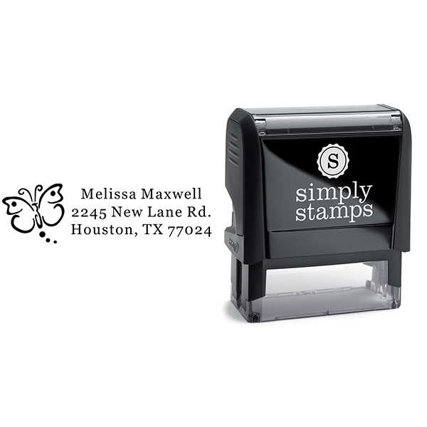 Butterfly Art Address Stamp Body and Design