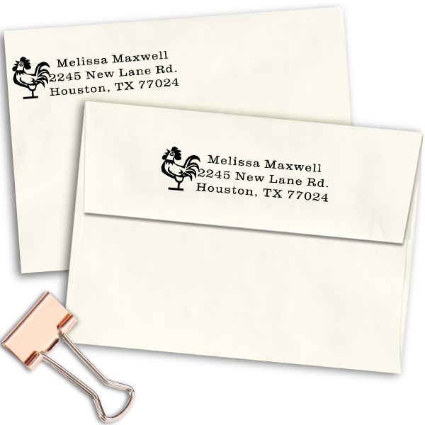 Rooster Address Stamp Imprint Example