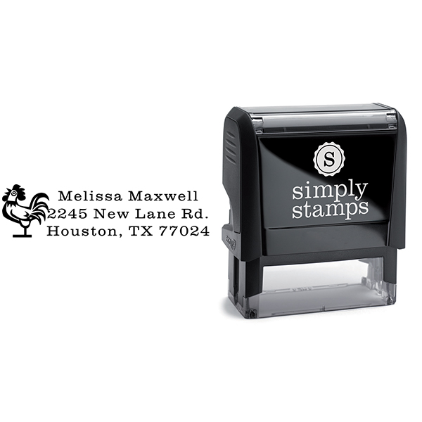 Rooster Address Stamp Body and Design