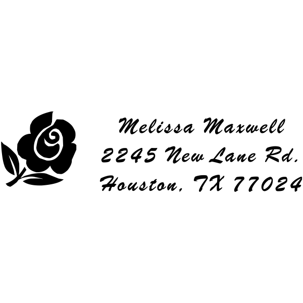 Rose Address Script Stamp with Flower