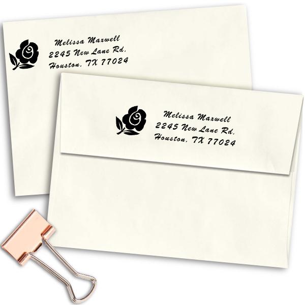 Rose Bud Address Stamp Imprint Example
