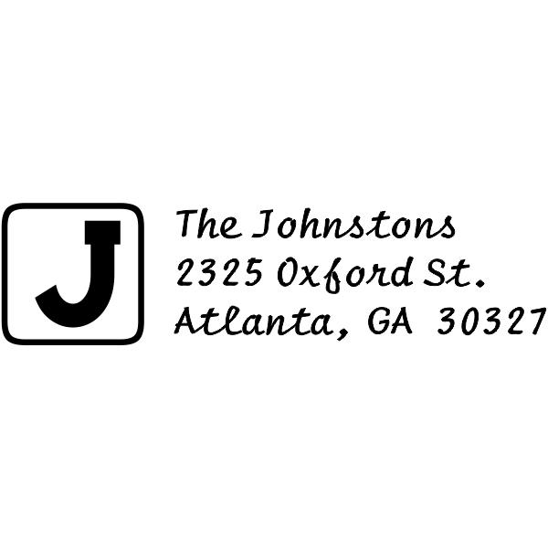 block letter rectangle address stamp design