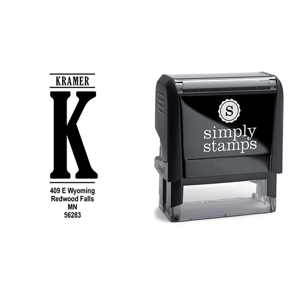 Vertical Capital Address Stamp Body and Design