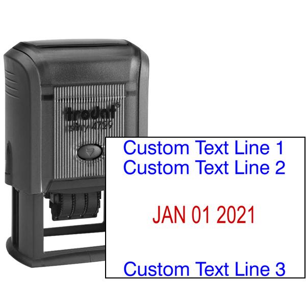 Custom Self-Inking Three Line Dater Stamp