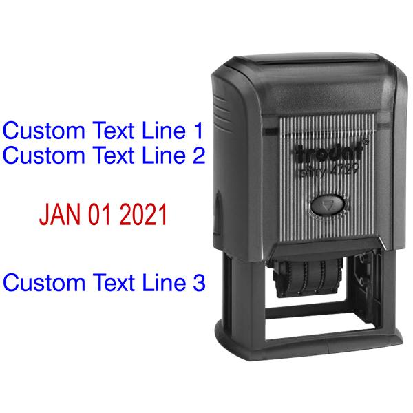 Custom Self-Inking Three Line Dater Stamp Body and Design