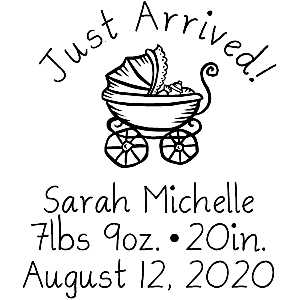 Just Arrived Baby Announcement Rubber Stamp