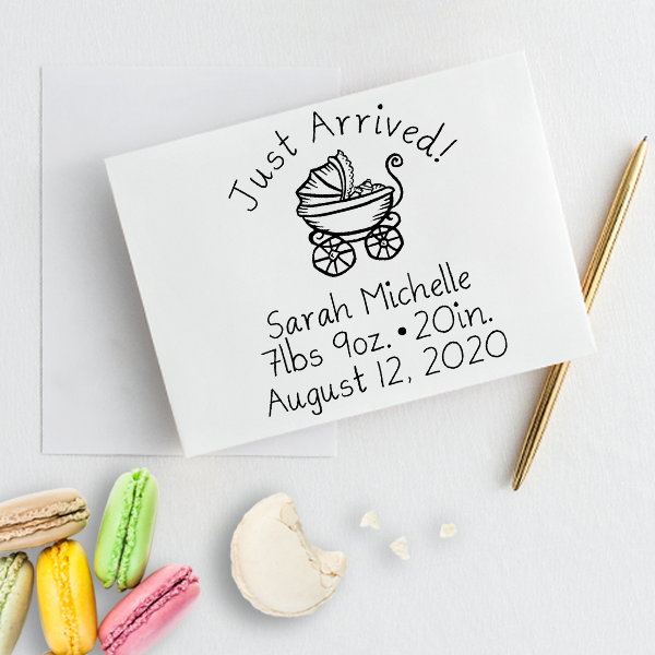 Just Arrived Baby Announcement Rubber Stamp Imprint Example