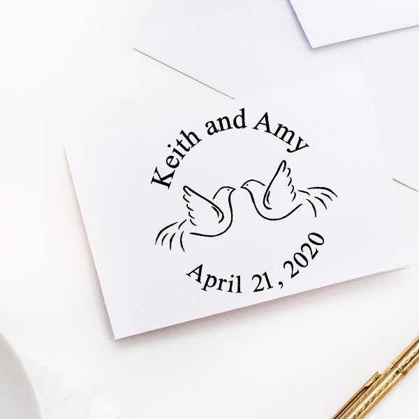 Doves Wedding Rubber Stamp Imprint Example