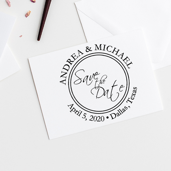 Save The Date Round Stamp Imprint Example