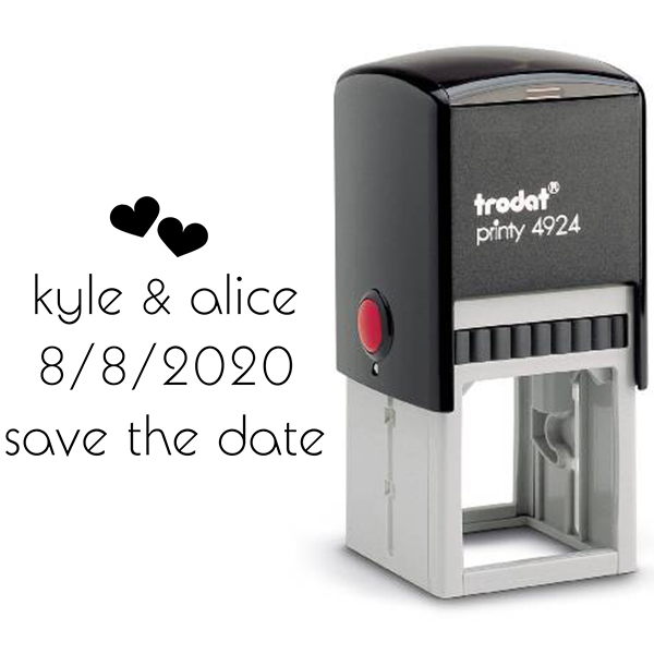 Save the Date Twin Hearts Stamp Body and Design