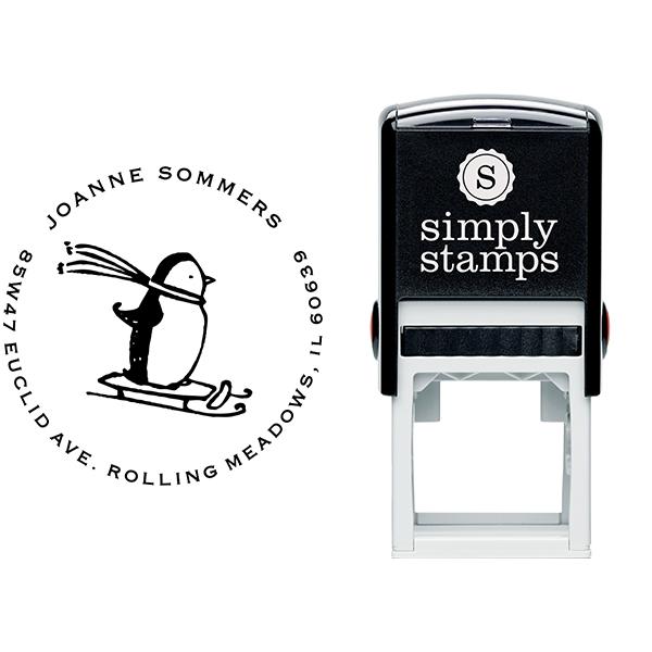 Sledding Penguin Holiday Address Stamp Body and Design